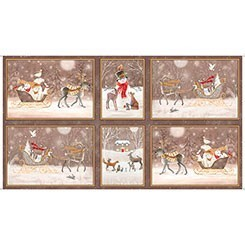 QUILTING TREASURES WOODLAND DREAM WINTER VIGNETTE PATCHES PANEL