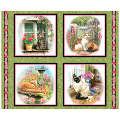 Quilting Treasures Fancy Felines CATS   PICTURE PATCHES GREEN