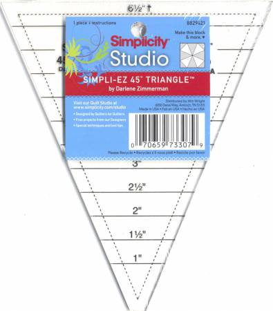 Simpli-EZ 45 Degree Triangle Ruler   6-1/2in