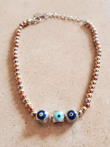 Tri-color Beaded Eye Bracelet