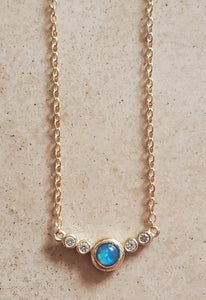 Blue Opal and CZ Necklace