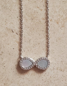 Mother of Pearl and CZ Infinity Necklace