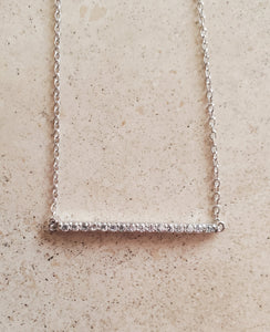 Small CZ Bar Necklace