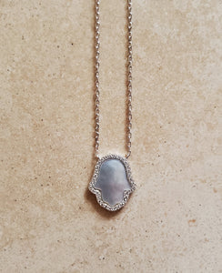 Mother of Pearl Hamsa with CZs