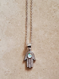 Hamsa with White Opal