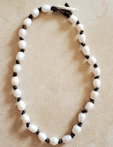 Hand Knotted Freshwater Pearls on Leather