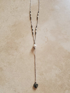 Pearl and Hematite Heart Lariat Necklace