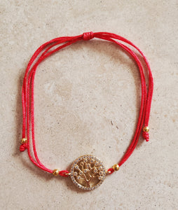 Red String Bracelet with Tree of Life