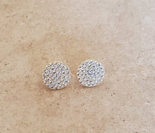Load image into Gallery viewer, Medium CZ Circle Stud Earrings