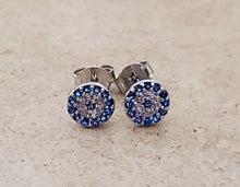 Load image into Gallery viewer, CZ Evil Eye Stud Earrings