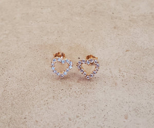 CZ Open Heart Stud Earrings