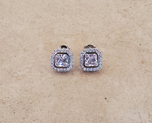 Rounded Square CZ Stud Earrings