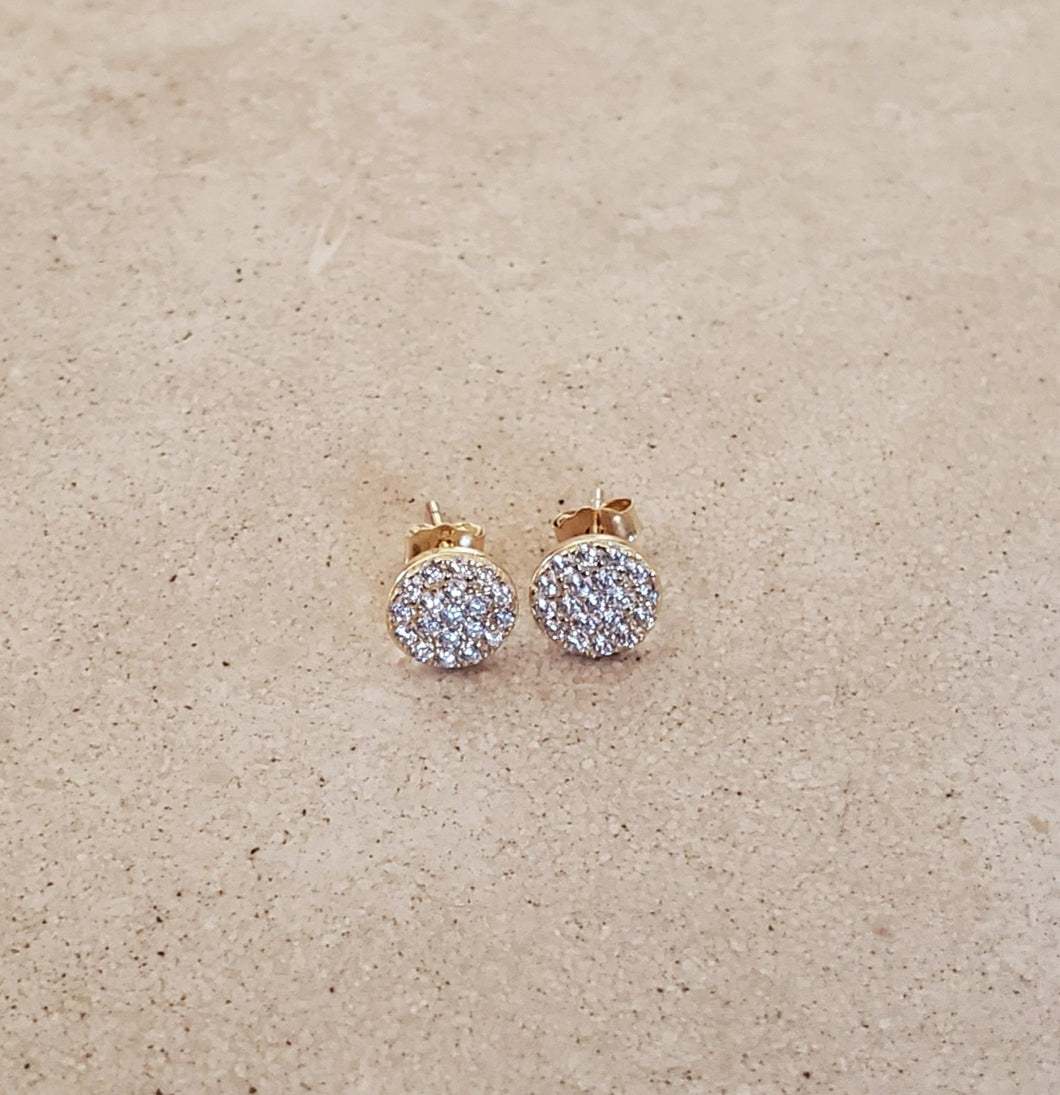 Small CZ Circle Stud Earrings