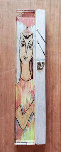 Large Glass Hand Painted Bride Mezuzah