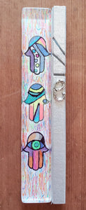 Large Glass Hand Painted Hamsa Mezuzah