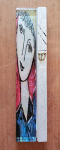 Large Glass Hand Painted Red Woman Mezuzah