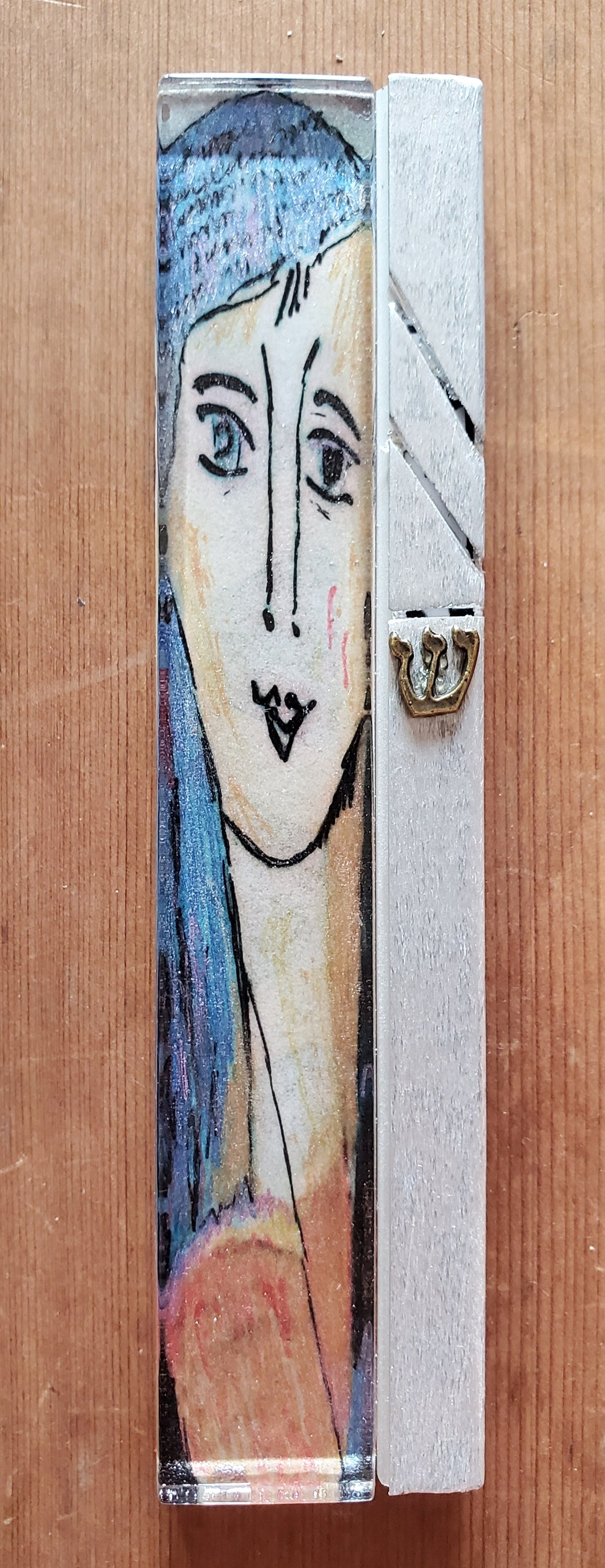 Large Glass Hand Painted Blue Woman of Valor Mezuzah