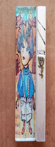 Large Glass Hand Painted Boy Mezuzah