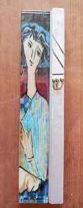 Large Glass Hand Painted Woman Mezuzah
