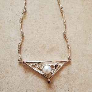 Triangular Pearl and Ruby Necklace