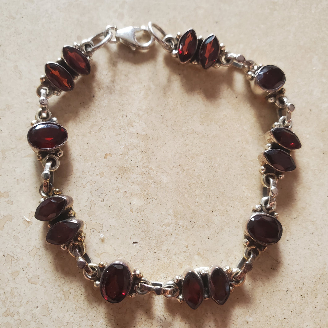Oval and Marquise Shaped Garnet Bracelet