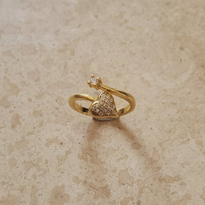 Heart and CZ Open Ring