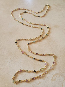 Multi Color and Shape Tourmaline Long Necklace