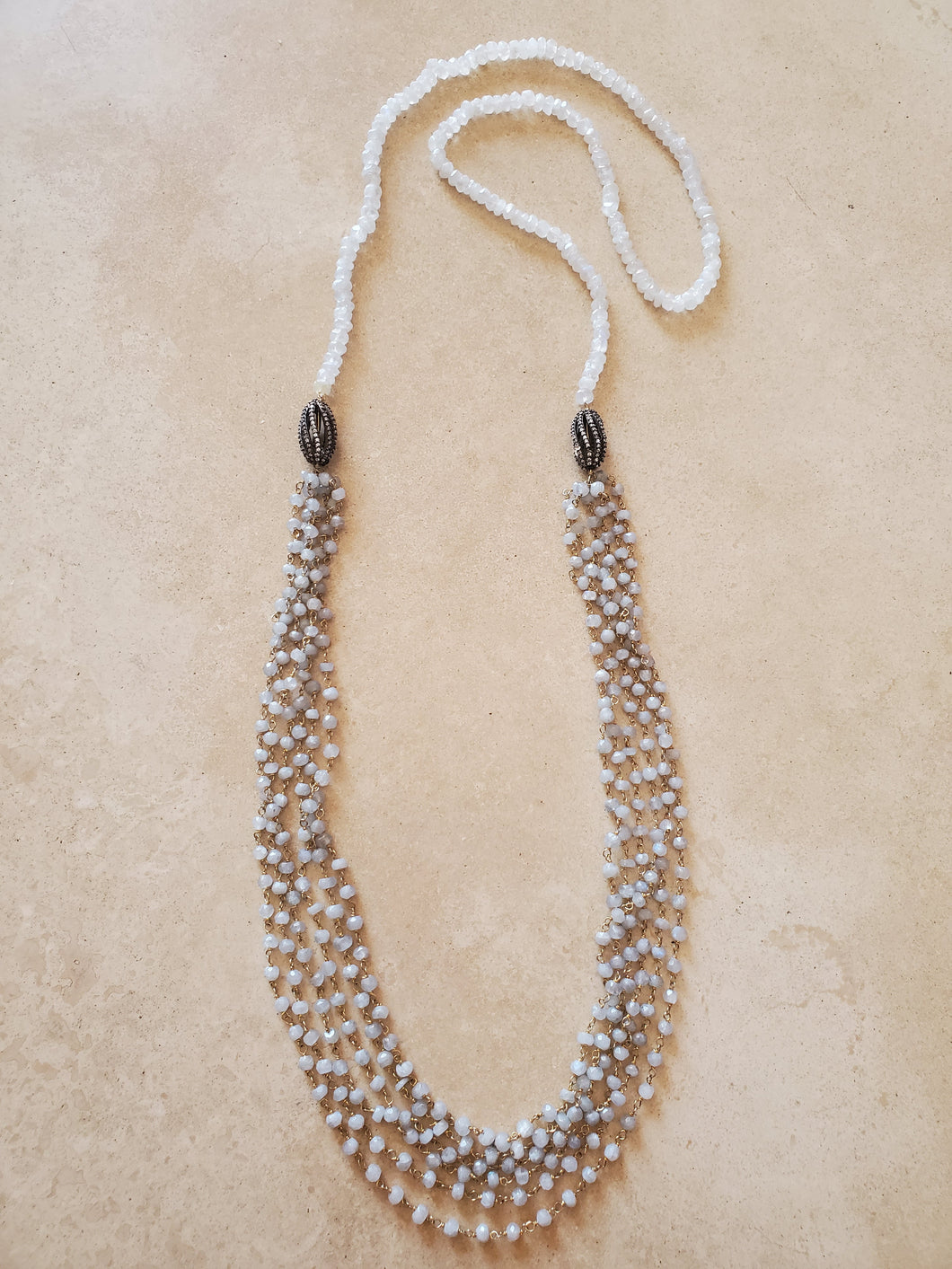 Long Moonstone Necklace with Silver Bead Accent