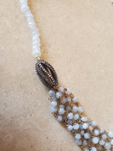 Load image into Gallery viewer, Long Moonstone Necklace with Silver Bead Accent