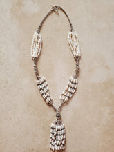 Load image into Gallery viewer, Pearl and Sterling Silver Bead Tassel Necklace
