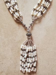 Pearl and Sterling Silver Bead Tassel Necklace