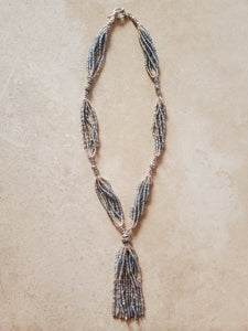 Sterling Silver and Labradorite Beaded Tassel Necklace
