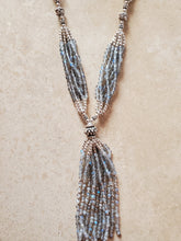 Load image into Gallery viewer, Sterling Silver and Labradorite Beaded Tassel Necklace