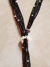 Load image into Gallery viewer, Adjustable Crystal and Pearl Long Lariat Necklace Black or Gray