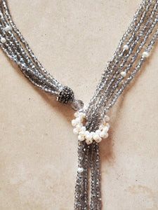 Adjustable Crystal and Pearl Long Lariat Necklace Black or Gray