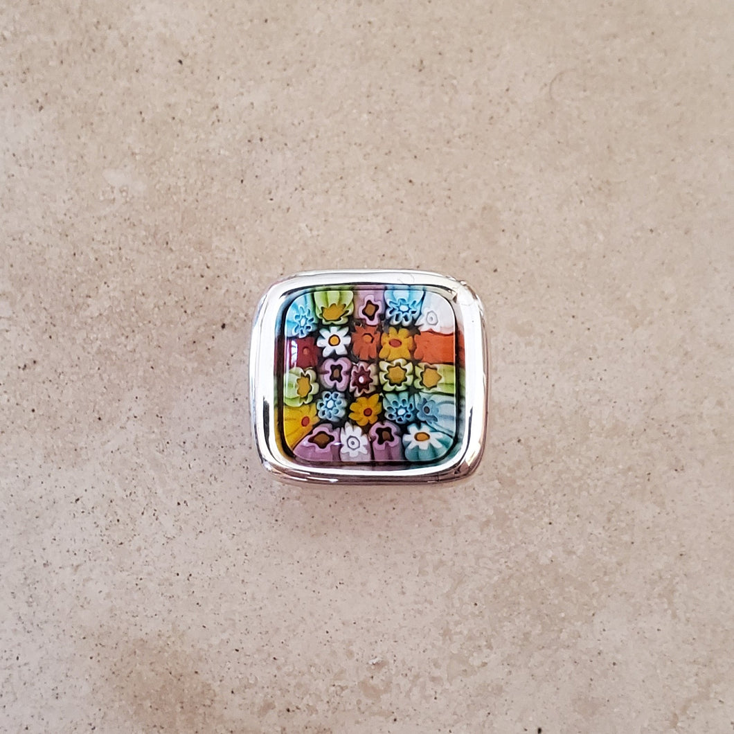 Square Murano Glass Flower Ring