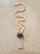 Load image into Gallery viewer, Amethyst Geode and Pearl Long Necklace