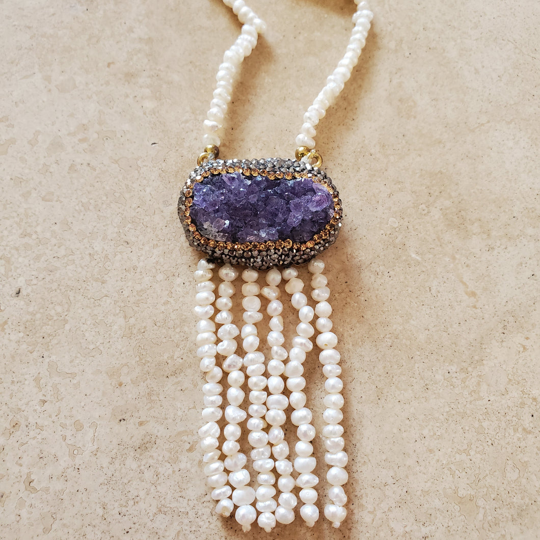 Amethyst Geode and Pearl Long Necklace