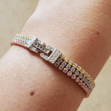 Load image into Gallery viewer, Tri-Color CZ Tennis Bracelet