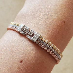 Tri-Color CZ Tennis Bracelet