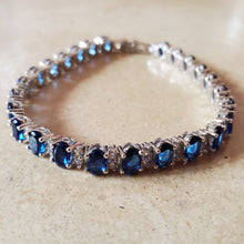 Load image into Gallery viewer, Blue Oval CZ Tennis Bracelet