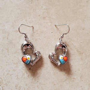 Hanging Double Heart Murano Glass Earrings