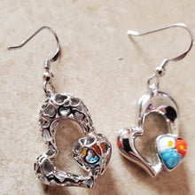 Load image into Gallery viewer, Hanging Double Heart Murano Glass Earrings