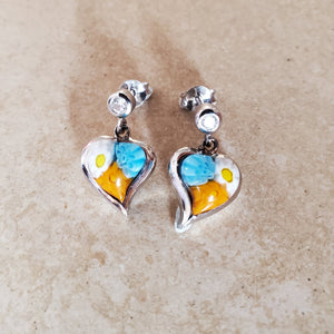 Hanging Murano Glass Heart Earring