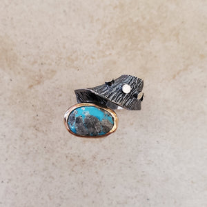 Oxidized Silver and Turquoise Ring