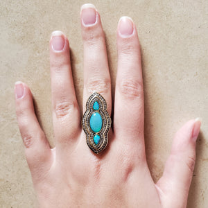 Oxidized Silver and Opal Ring