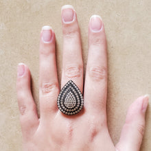 Load image into Gallery viewer, Oxidized Silver Teardrop Ring
