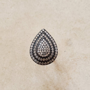 Oxidized Silver Teardrop Ring