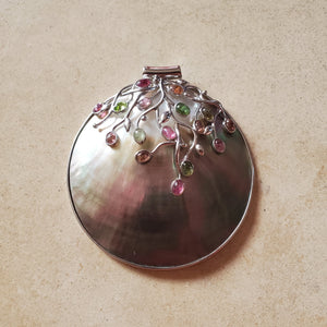 Mother of Pearl Pendant with Tourmaline