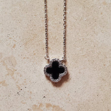 Load image into Gallery viewer, Small Onyx Four Leaf Clover Necklace